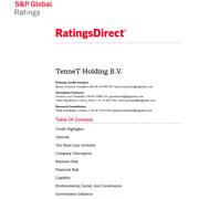 Credit Rating S&P TenneT Holding B.V. (May 2020)