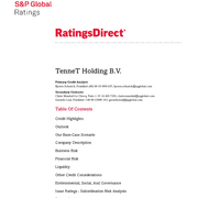 Credit Rating S&P TenneT Holding B.V. (May 2019)
