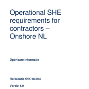 Operational SHE requirements for contractors - Onshore