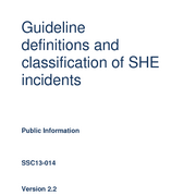 Guideline definitions and classification of SHE incidents