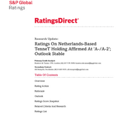 Credit Rating S&P TenneT Holding B.V. (May 2016)